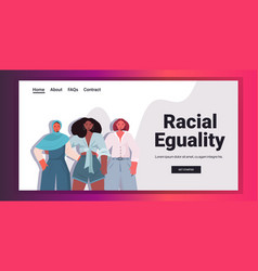 mix race women with different skin color standing vector image