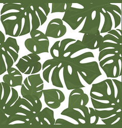 Monstera tropical forest leaves background green vector