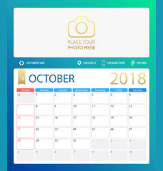 october 2018 calendar or desk vector image