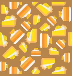 orange and lemon layer cake seamless pattern vector image