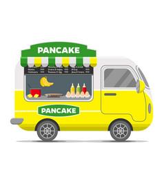 Pancake street food caravan trailer vector