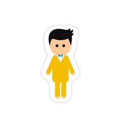 Paper sticker on white background groom young vector