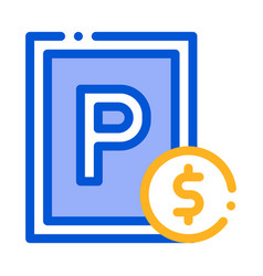 parking fee icon outline vector image