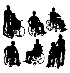 people on crutch and wheelchair silhouettes vector image
