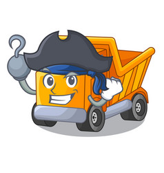 Pirate cartoon truck on the table learn vector