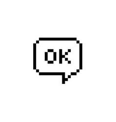 pixel style text speech bubble ok vector image