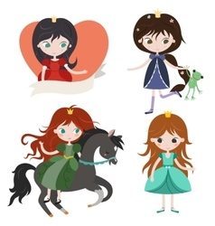 Princess collection isolated on white background vector