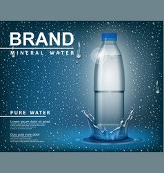 Pure mineral water ad transparent shine plastic vector