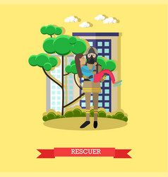 Rescuer in flat style vector