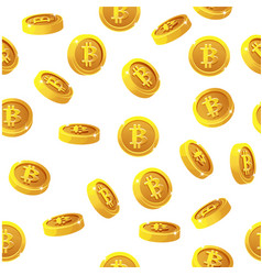 rotation bitcoin coins seamless pattern digital vector image
