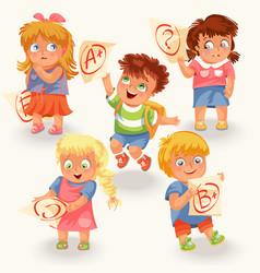 Schoolchildren and marks icons set vector
