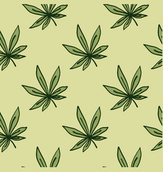 Seamless pattern with outlined ganja ornament vector
