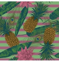 Seamless pattern with pineapples lotuses peacock vector