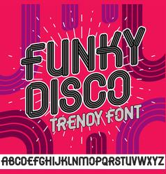Set of bright upper case funky english alphabet vector