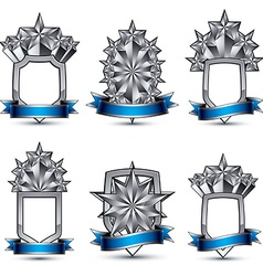 Set of silvery heraldic 3d glossy icons with curvy vector