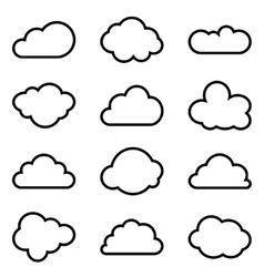 Set of twelve different shapes of clouds vector