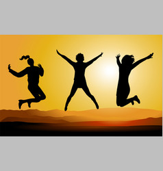 Silhouette of happy jumping people vector