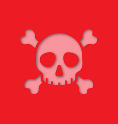 Skull and crossbones paper cut out icon vector