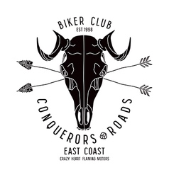 Skull animal biker club emblem vector