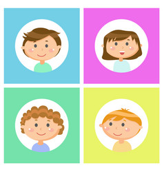 Smiling teenagers face view children vector