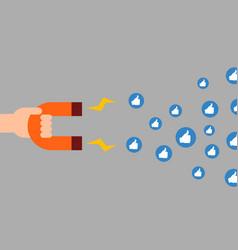 Social media marketing concept magnet attracting vector