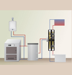 Solid fuel and gas boiler in the heating system vector