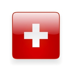 Square icon with flag of Switzerland vector