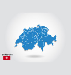 Switzerland map design with 3d style blue vector