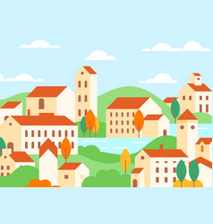 town houses architecture colorful flat vector image