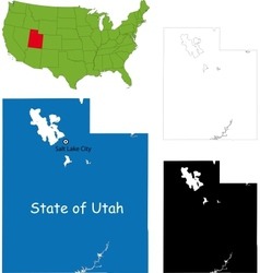 Utah map vector image