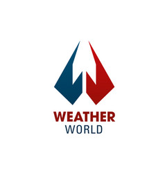 W letter icon for weather world vector