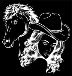White silhouette girl dressed as a cowboy vector
