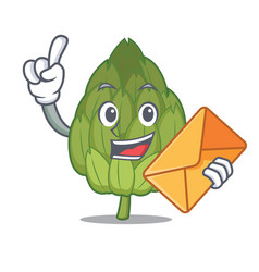 With envelope artichoke character cartoon style vector
