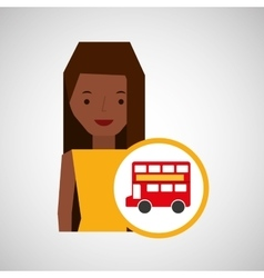 woman cartoon traveler london red bus icon vector image