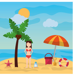 woman standing in beach palm umbrella bucket vector image