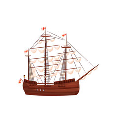 Wooden sailing ship old marine vessel with beige vector