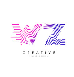 wz w z zebra lines letter logo design with vector image