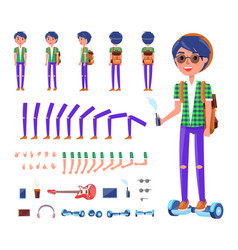 young teenager with hoverboard icons set vector image