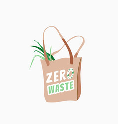 zero waste store bag with green product and vector image