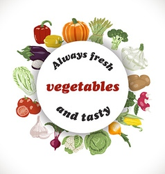 background with vegetables in a circle and the vector image vector image