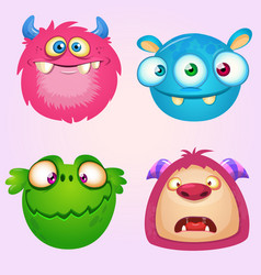Cute cartoon monsters collection set vector