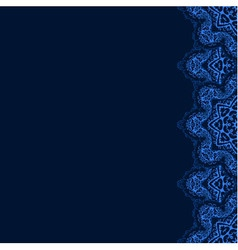 decorative border with blue lace from snowflakes vector image