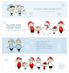 Happy family together christmas holiday banner vector image