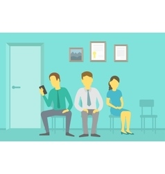 People sitting and waiting in the queue vector image