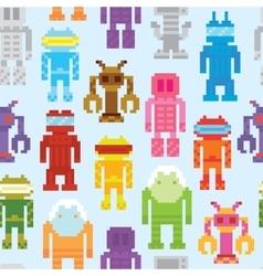 Retro robots seamless pattern vector image vector image