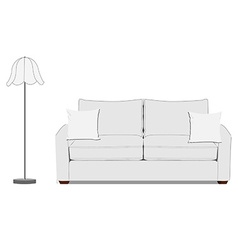 Sofa and floor lamp vector image