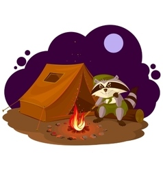 Summer holiday camp Scout raccoon sitting around vector image