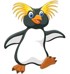 Happy cartoon penguin rockhopper cartoon vector image vector image