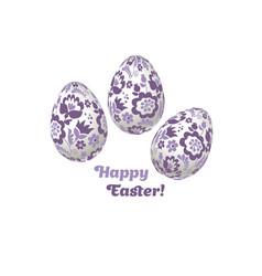 pale color easter egg decoration floral vector image vector image