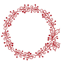 red round frame of leaves isolated on white vector image